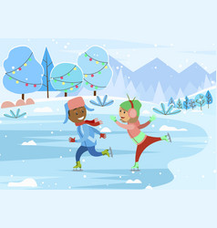 Couple skate on winter landscape with pine vector