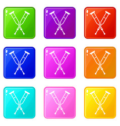 Crutches icons 9 set vector