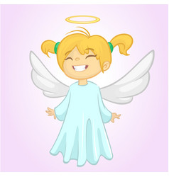 cute christmas girl angel character vector image