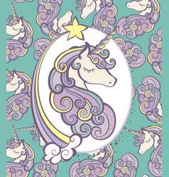 cute magical unicorn head design vector image