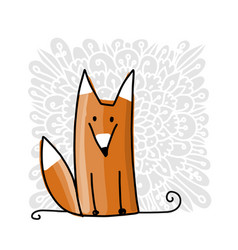 cute red fox sketch for your design vector image