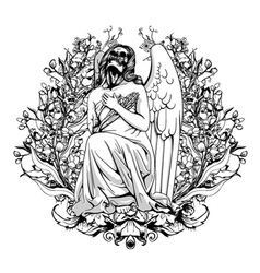 Dark angel with floral vector