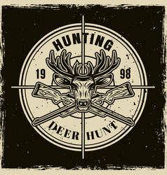 deer hunting round light emblem on dark vector image