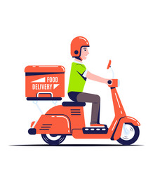 delivery guy on scooter flat style vector image