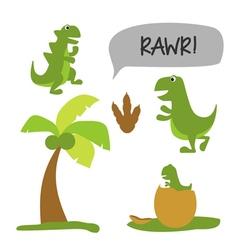 Dinosaur theme set vector