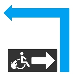 Disabled Person Fire Exit Turn Left Flat vector