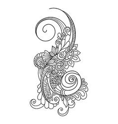 Doodle art flowers Zentangle floral pattern Hand vector image