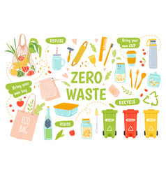 ecology reusables zero waste recycle and vector image