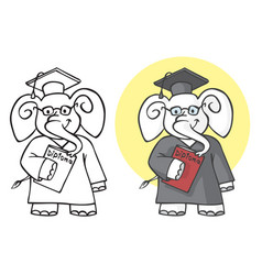 elephant student with diploma vector image