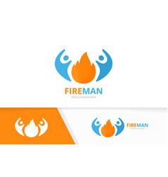 fire and people logo combination flame and vector image