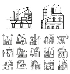 Flat line icons for factories vector image