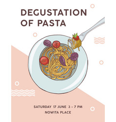 Flyer template with plate of appetizing spaghetti vector