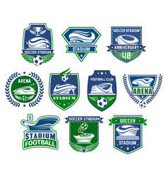 football sport badge with soccer ball and stadium vector image
