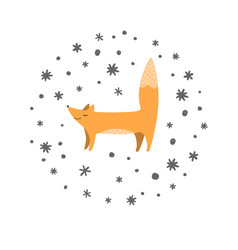 fox and doodle snowflakes background winter vector image