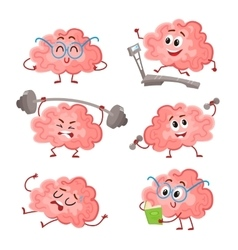 Funny brain training with barbell dumbbells on vector