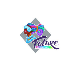 Future is coming cyberpunk logo with cartoon vector