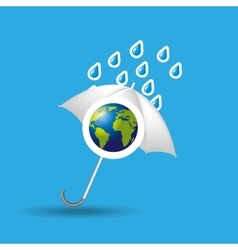 Globe earth weather meteorology with rain umbrella vector
