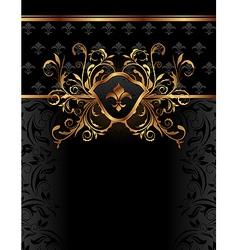 Golden ornate frame for design vector