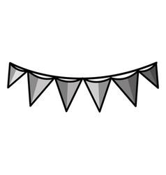 grayscale flag party celebration decoration design vector image