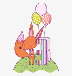 happy fox birthday three years with balloons vector image