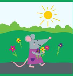 Happy rat in dress with flowers vector