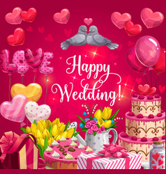 happy wedding heart cake balloons and flowers vector image