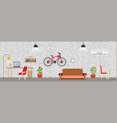 interior room with white brick wall vector image
