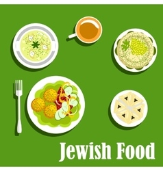 Kosher dishes of jewish cuisine1 vector image