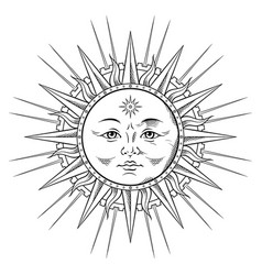 line art sun in antique stule hand drawn vector image