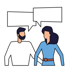 man and woman characters talk bubble vector image