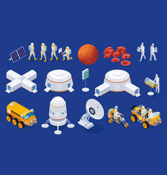 Mars colonization set isometric icons vector