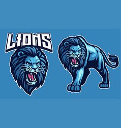 Mascot sport lion in set vector