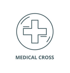 medical cross line icon linear concept vector image