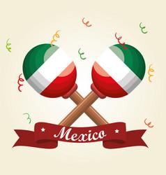 Mexican maracas festival instrument vector