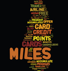 Miles credit cards strategies to accumulate miles vector