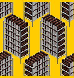mining farm seamless pattern mining rig gpu vector image