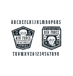 Narrow serif font and air force emblems vector