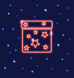 neon square gift box icon in line style vector image