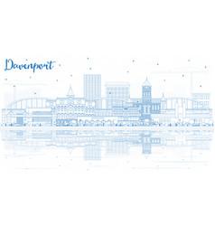 Outline davenport iowa skyline with blue vector