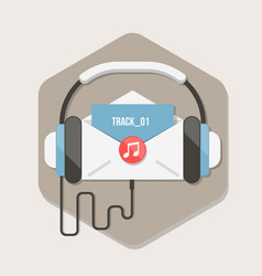 Paper letter with music file icon in flat style vector
