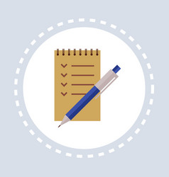 pen and notebook shopping icon concept flat vector image
