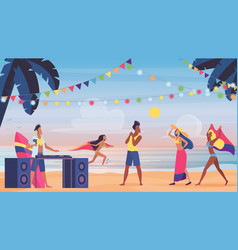 people on summer sea beach seaside music fun vector image