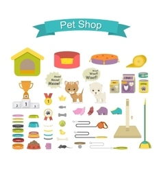 Pet shop icon set vector
