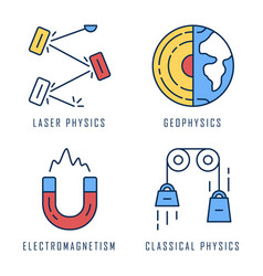 Physics branches color icons set laser vector