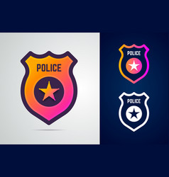 police badge with star in modern gradient style vector image
