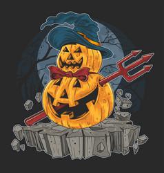 Pumpkin halloween devil artwork vector