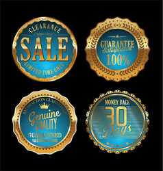 Quality retro golden badges collection 5 vector