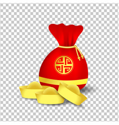 red bag for chinese new year and golden coins vector image