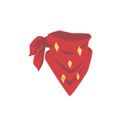 red cowboy bandana with yellow diamond pattern vector image