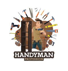 Repairman or furniture maker handyman work tools vector